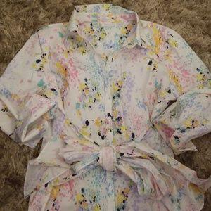 Paint splatter tie front tunic